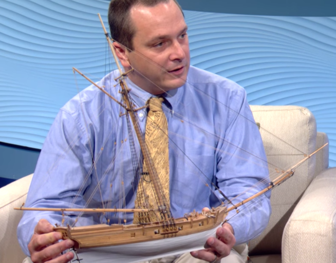 John Collamore of the Colonia Seaport Foundation with Model of the Luna
